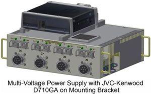 Multispanningsvoeding met JVC-Kenwood D710GA op montagebeugel