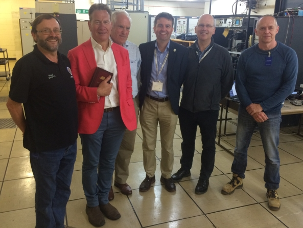 Noel Matthews G8GTZ, Michael Portillo, Brian Coleman G4NNS, Matthew Crosby Chief Scientist Goonhilly, Ian Jones CEO Goonhilly and Tim Fern G4LOH at Goonhilly in June 2017