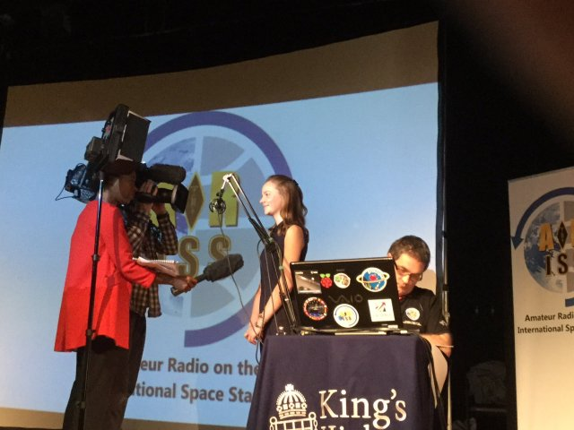Nicola Beckford from BBC TV interviewing Eleanor Griffin before the ARISS contact - image credit KHS