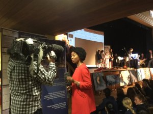 Nicola Beckford reporting for BBC Midlands TV on Kings High School ARISS contact - image credit KHS