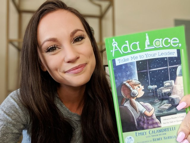 Emily Calandrelli KD8PKR with her new Ada Lace book