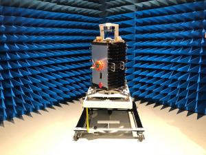 ESEO satellite in the anechoic chamber at the ESTEC test facilities, in the Netherlands