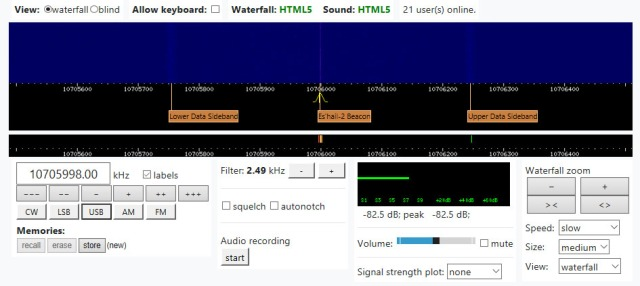 Es'hail-2 Narrowband WebSDR Display