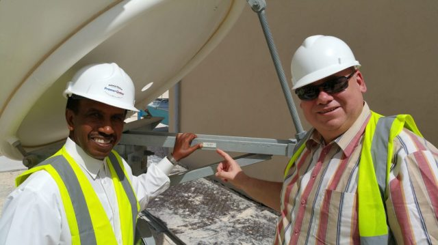 At Es'hailSat Qatar - Credit AMSAT-DL