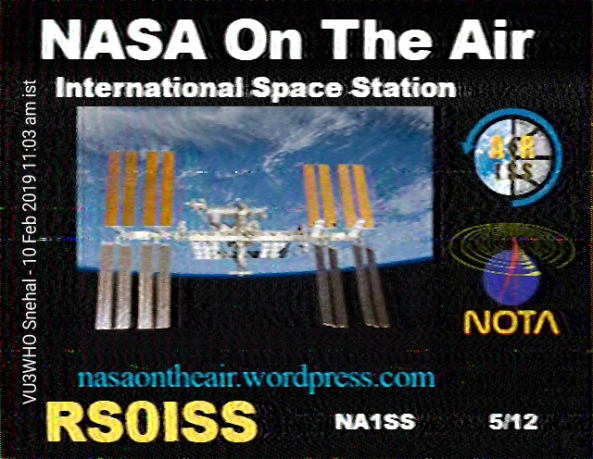 ISS SSTV Image Received by Snehal Vagadia VU3WHO