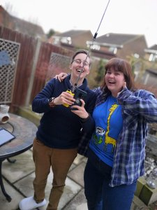 Laura M6LHT and Jenny receiving ISS SSTV pictures