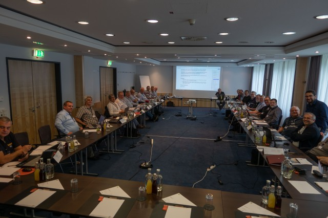 Graham Shirville G3VZV 5th from right at the IARU Region 1 VHF/UHF/uW (C5) meeting in Vienna