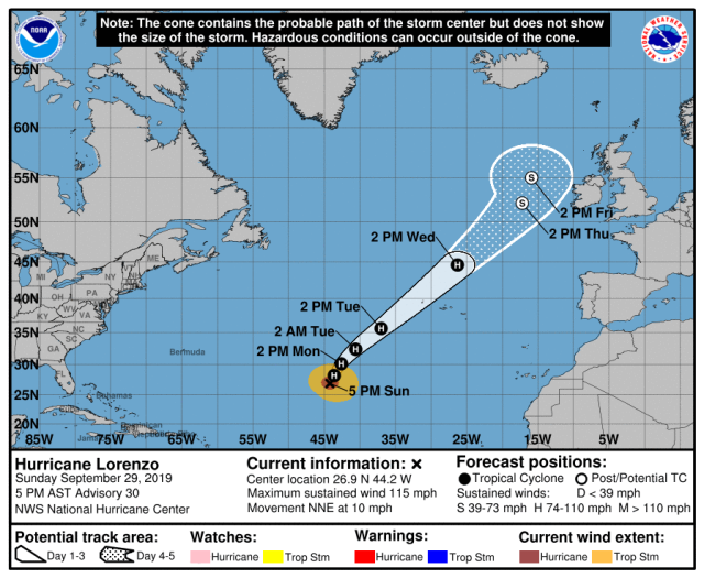 Hurricane Lorenzo estimated track