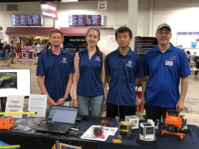 Dawson Duckworth KC3NNB, Lauren Hurley KD2RHC, Kaixuan Ji AC3EN and Dr. Alan Johnston KU2Y staffed the AMSAT / Villanova CubeSat Club table at the Robotstock/STEM event in August