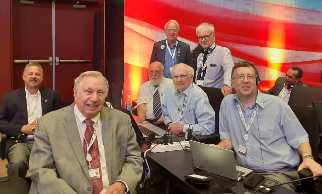 WRC19 - PB2T, VE3QN, EI3IO, DK4VW, K1ZZ, VK1DSH and RSGB Spectrum Forum Chair Murray G6JYB image credit DK4VW