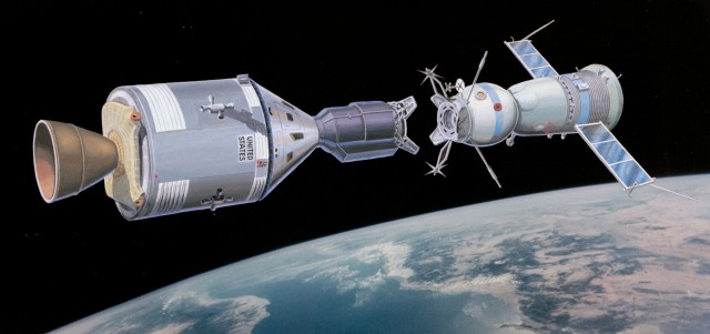 Artist's impression of the docking of the Apollo and Soyuz spacecraft